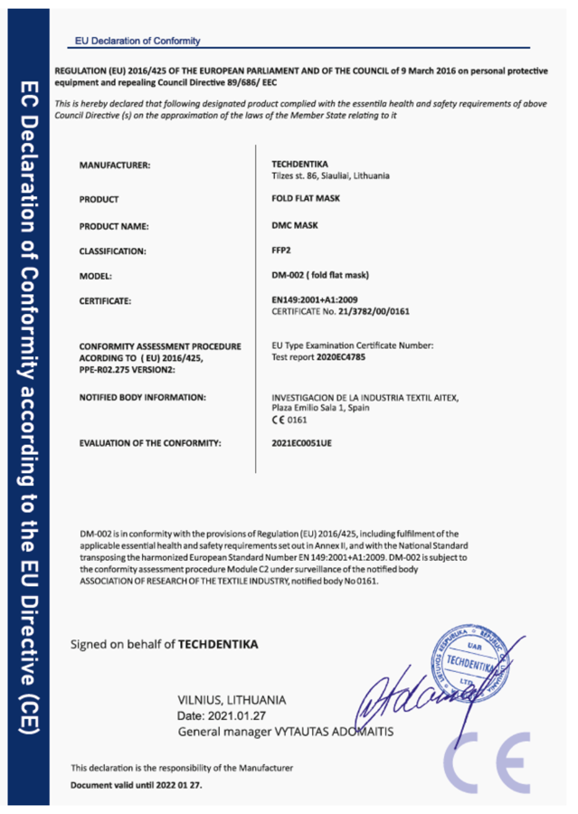 10 gab FFP2 Respirators-aizsargmaska DMC DM-002