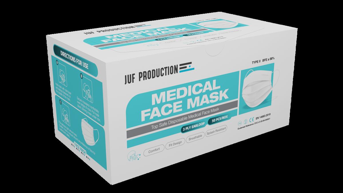50 gab - Baltas trīs slāņu medicīnas sejas maska