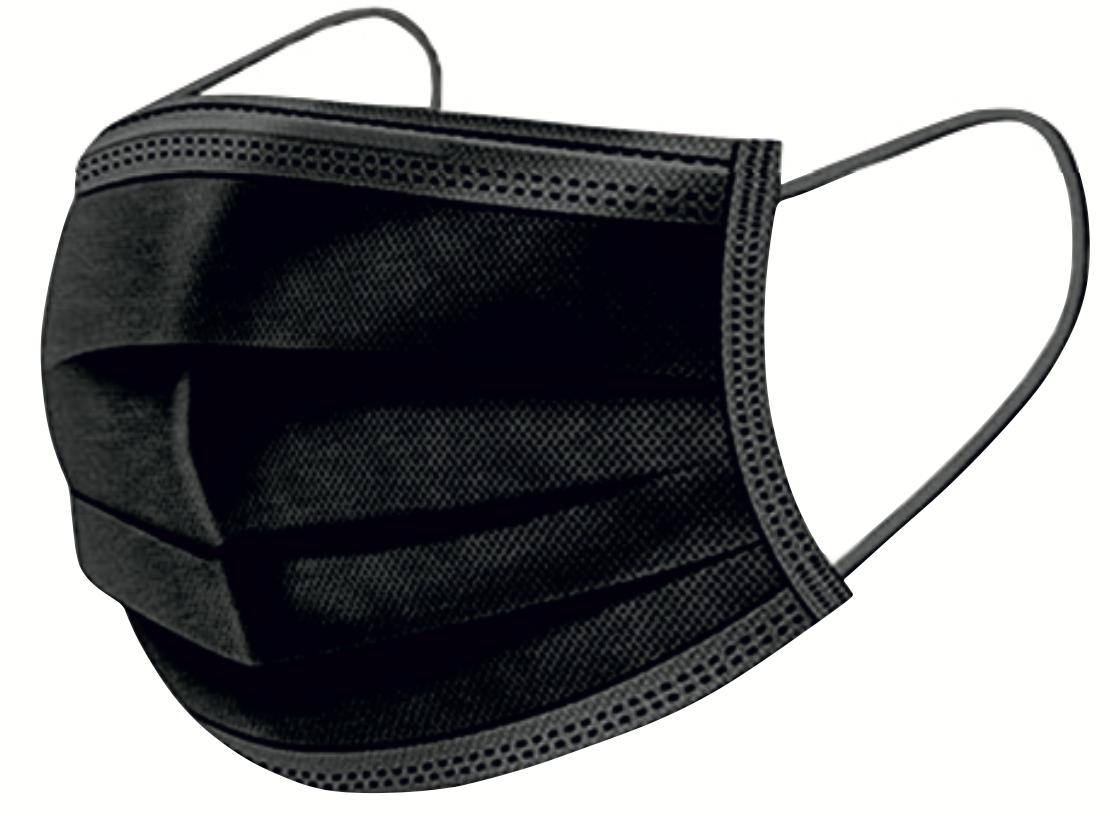 50 gab - Melnas trīs slāņu medicīnas sejas maska