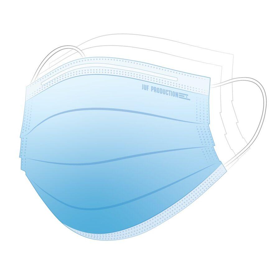 3-slāņu medicīniskā sejas aizsargmaska, zila, I klase, IIR tips