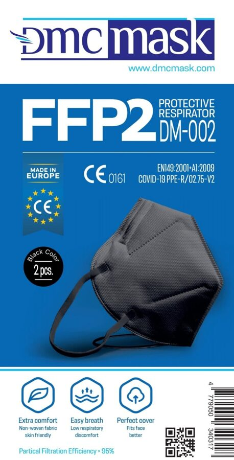 20 gab FFP2 Respirators-aizsargmaska Melns DMC DM-002