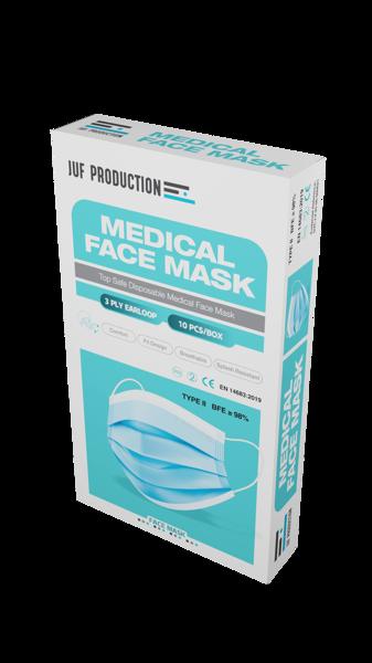 10 gab - Zilas trīsslāņu medicīnas sejas maska