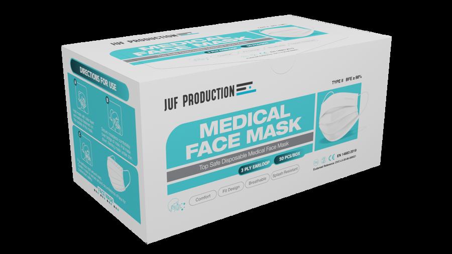 50 gab - Baltas trīsslāņu medicīnas sejas maska